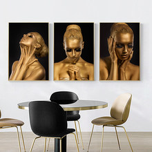 Preto e ouro mulher nua africana arte da parede lona pintura a óleo cartazes e impressões fotos para sala de estar decoração