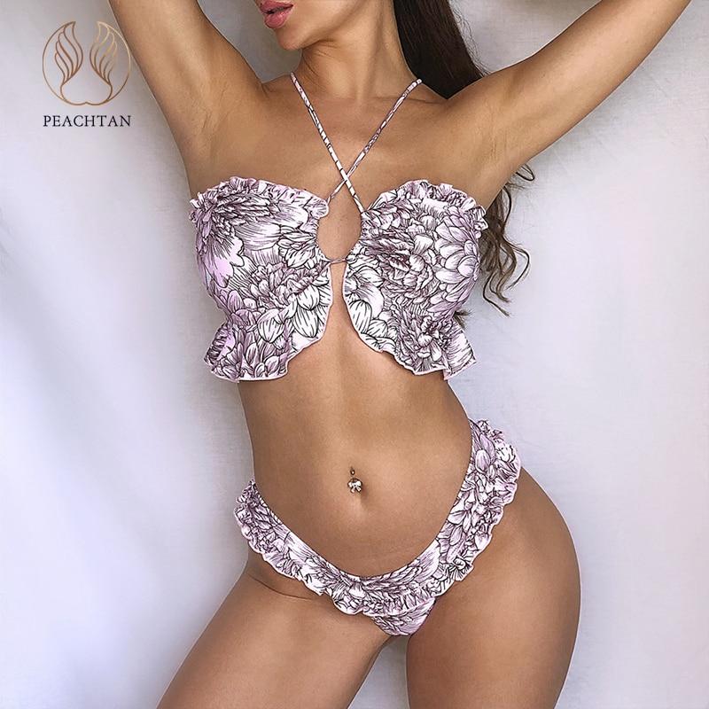 Peachtan Sexy Floral Print Bikinis 2020 Mujer Ruffle Swimsuit Female String Swimwear Women Brazilian Bikini Bathers Bathing Suit