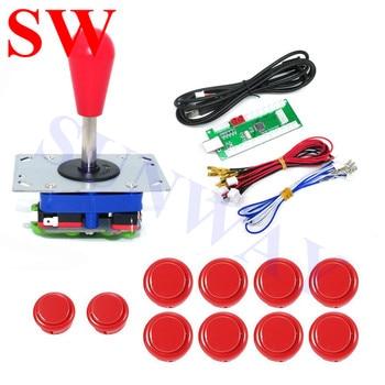 Zippy Joystick Arcade DIY Kits para PC Joystick con rojo Balltop Zippy Joystick + 30mm Sanwa botones Push + USB LED Tablero de Control