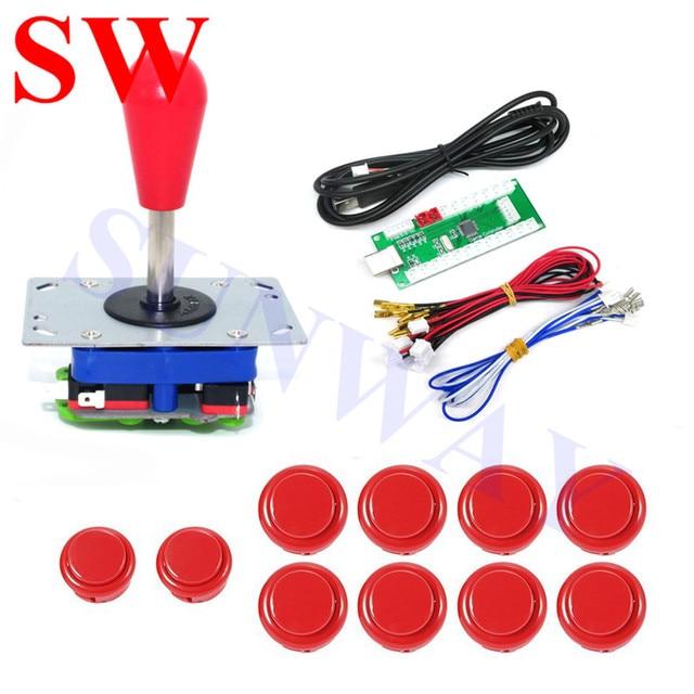 Zippy Joystick DIY zestawy zręcznościowe do Joystick PC z czerwonym ballopem Zippy Joystick + 30mm Sanwa przyciski + LED USB Controll Board