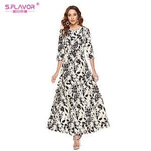 Image 4 - S.FLAVOR Women Slim Long Dress Autumn Winter Plus Size 3/4 Sleeve O Neck Floral Print Boho Maxi Dress Elegant Party Vestido