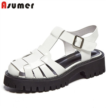 ASUMER 2020 hot sale vintage platform sandals women genuine leather shoes hollow out buckle summer casual shoes woman black
