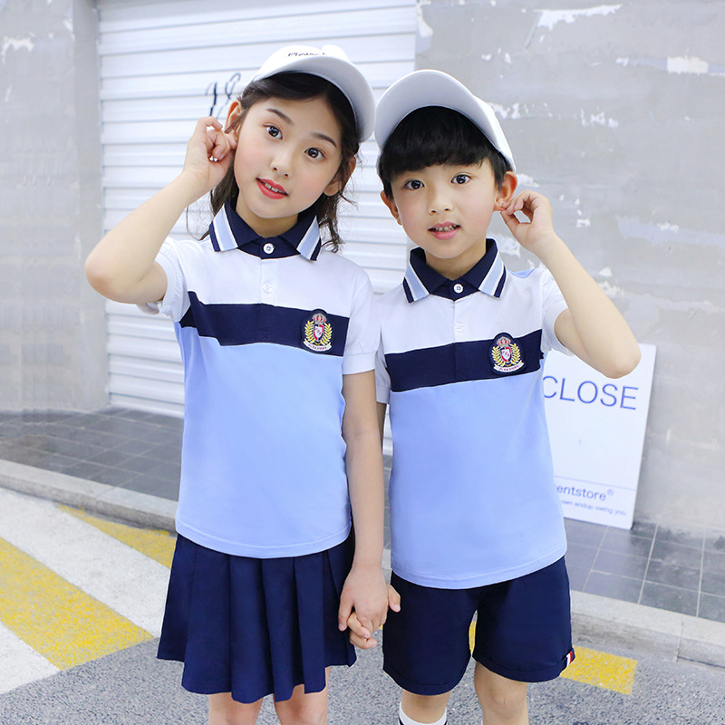 Summer New Style School Uniform Source Factory Goods Primary School STUDENT'S Pure Cotton Business Attire Kindergarten Suit Engl