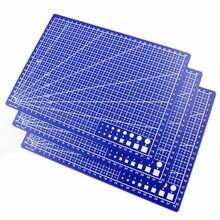 Tapis de coupe en PVC A4/A3, grille rectangulaire, ligne, tapis de coupe, bricolage, plaque à outils, modèle à main, plaque de Base bleue simple face