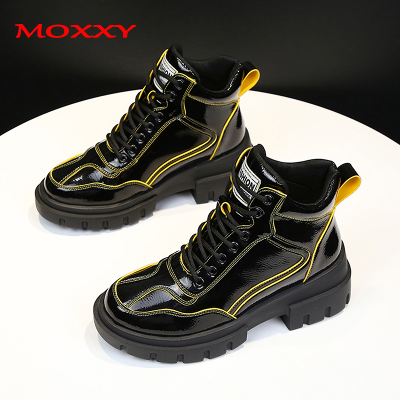 2019 New Designer Ankle Boots Women Shoes Leather Chunky Sneakers Female Fashion Casual Shoes Woman Red Yellow Platform Boots