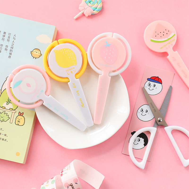 1PC Safety Childrens Scissors Cute Kawaii Lollipop Scissors Kids Gift Stationery School DIY Scrapbook Paper Diary Craft Tool