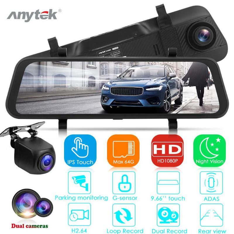 Anytek A7 FHD 1080P voiture DVR caméra 9.66 pouces rétroviseur double lentille ADAS Starlight Vision nocturne Dashcam enregistreur vidéo