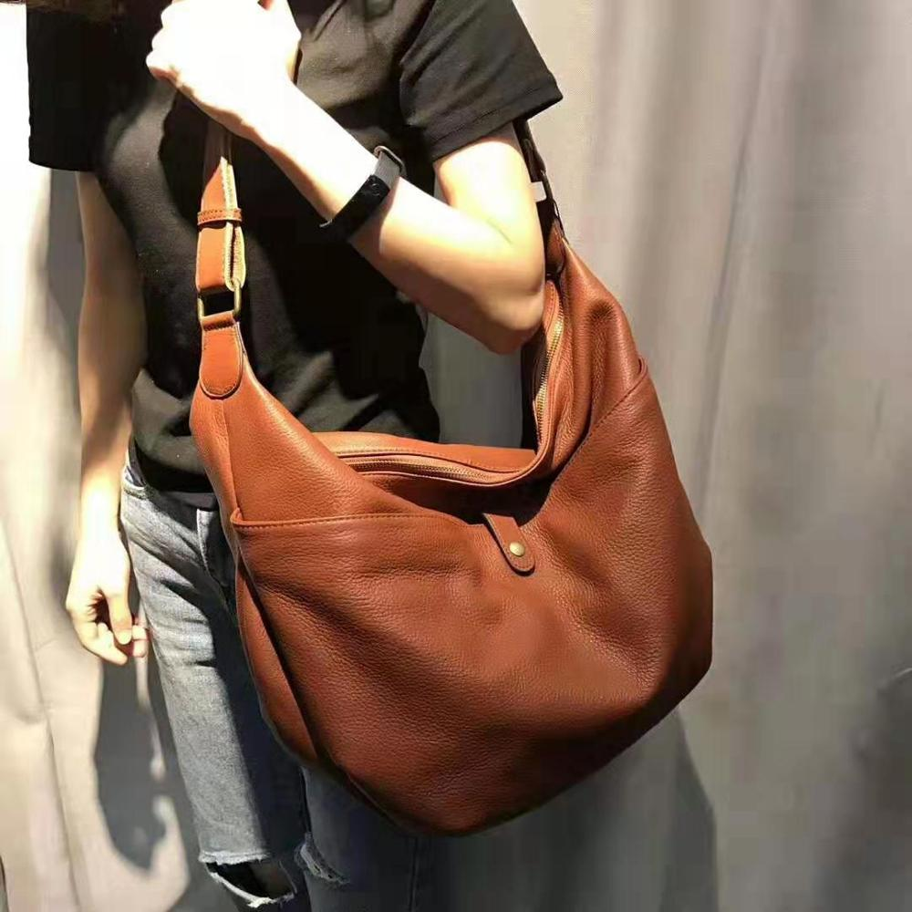 Woman Soft Cowhide Shoulder Bags Fashion Large Genuine Leather Tote Ladies Korean Design Casual Messenger Bag Feminina Handbags