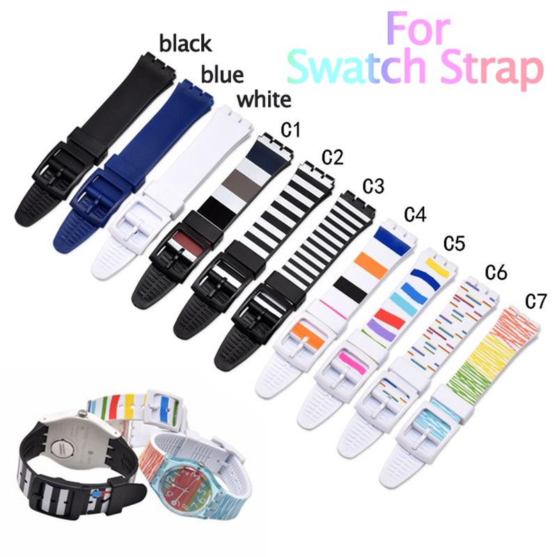 Quality Watch Strap For Swatch Watch Bracelet Soft Waterproof Silicone Replacement 16mm 17mm 19mm Rubber Watch Band Men Women