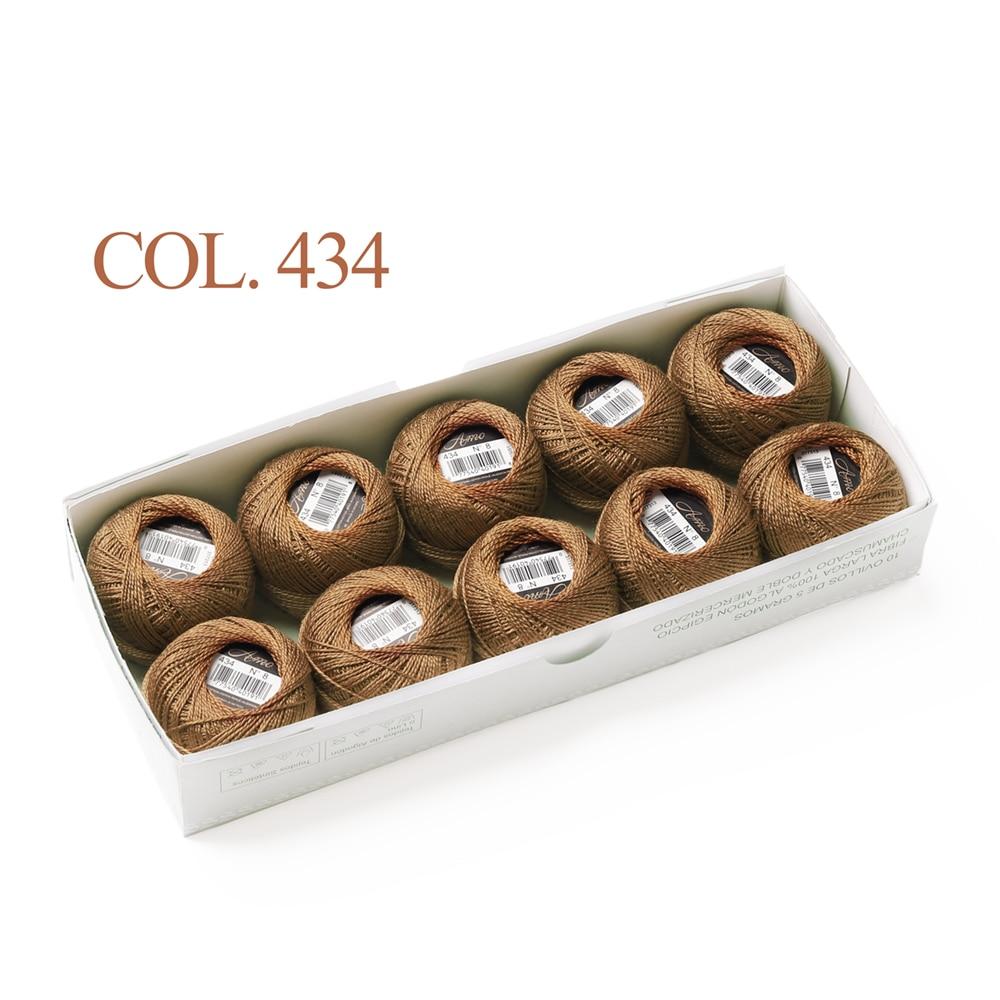 10 коробка с шариками Размер 8 жемчуг Хлопок нитки для вязания 43 ярдов двойная Мерсеризация длинный штапель из египетского хлопка 79 DMC цвета - Цвет: 434