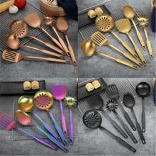 Cooking-Tool-Set Kitchenware Stainless-Steel Soup Gold 6pcs-Set Colander Ladle Scoop