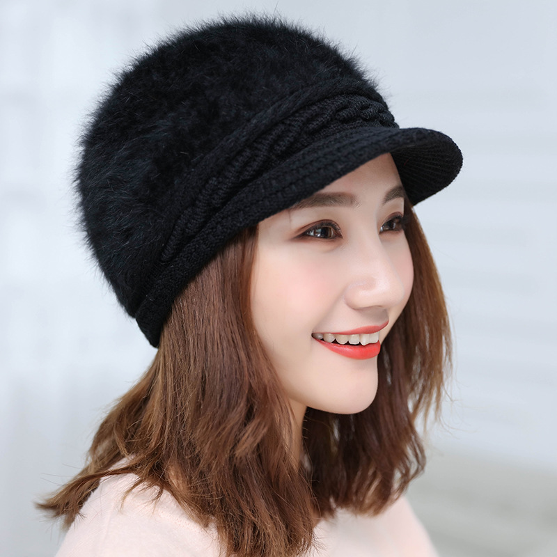 Hot Women Rabbit Fur Knitted Hats Casual Solid Color Autumn Girls Winter Hat Female Bonnet Caps S1012 I