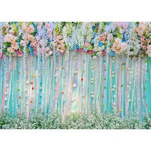 Image 2 - Foto Kulissen Bunte Blumen Bänder Vinyl Tuch Hintergrund für Hochzeit Liebhaber Valentinstag Photo Fotografie Requisiten