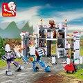 Sluban 877 шт Рыцарь Броня средневековый замок серии режим кирпичи Brinquedos строительные блоки наборы Развивающие игрушки для детей