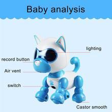 Электрический щенок робот сенсорный звук Запись светодиодный глаза интерактивные дети собаки игрушки для мальчиков девочек Интеллектуальный робот подарок