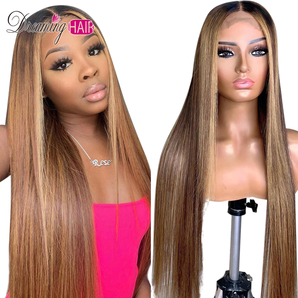 H8c49af471be1416bb4f233b6e8a87557m Highlight 13x6 Deep Part 1B 27 Ombre Honey Blonde Brazilian Straight Hair Lace Front Human Hair Wigs Pre Plucked With Baby Hair