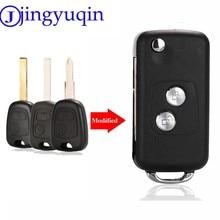 Jingyuqin capa de chave de carro, 2 botões modificados, capa em branco, para citroen c1 c2 c3 xsara picasso, para peugeot 206 306 307 406