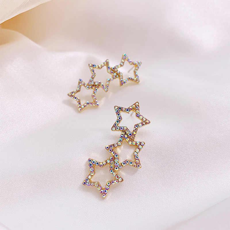 Personalità esercitazione completa stelle orecchini lunghi orecchini femminile stella a cinque punte viso sottile orecchini del Burlone della netto rosso