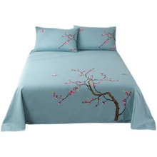 Thick embroidered Plum blossom Luxury Cotton Bed Sheet Set 3 Piece Queen Bedding Sets Flat Sheet & Pillowcases Light Blue
