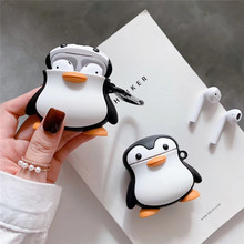 3D Lovely Cute Cartoon Standing Penguin Earphone Case for Airpods 2 Cover Soft Silicone 1 Bag