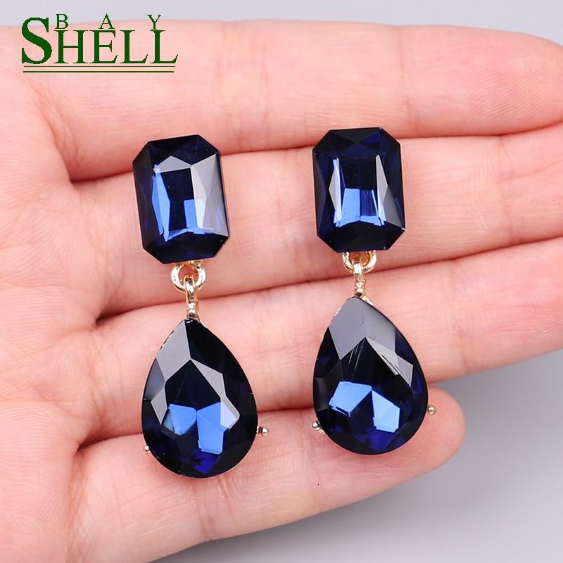 Женские серьги-подвески с голубыми кристаллами Shell bay, богемные Стразы, геометрические модные серьги в стиле панк, свадебные украшения