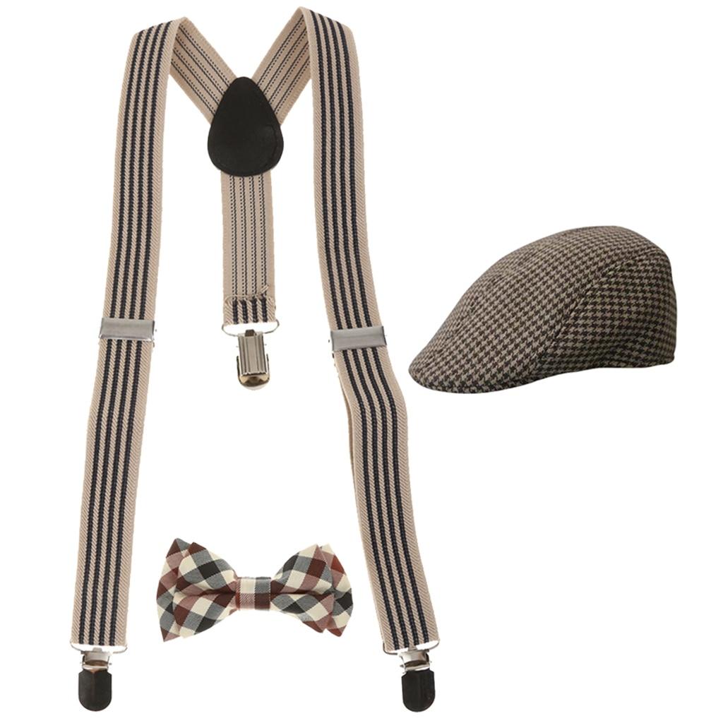 Boys Suspender Y-back Bowtie Beret Cap Flat Hat Set Accessories Decor Supply