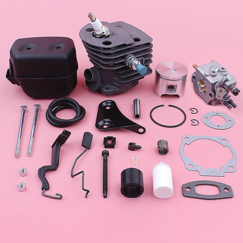 46mm Cylinder Carburetor Exhaust Muffler Piston Repair Kit For Husqvarna 55 51 Chainsaw 501766605 503218202 503281504 503609171