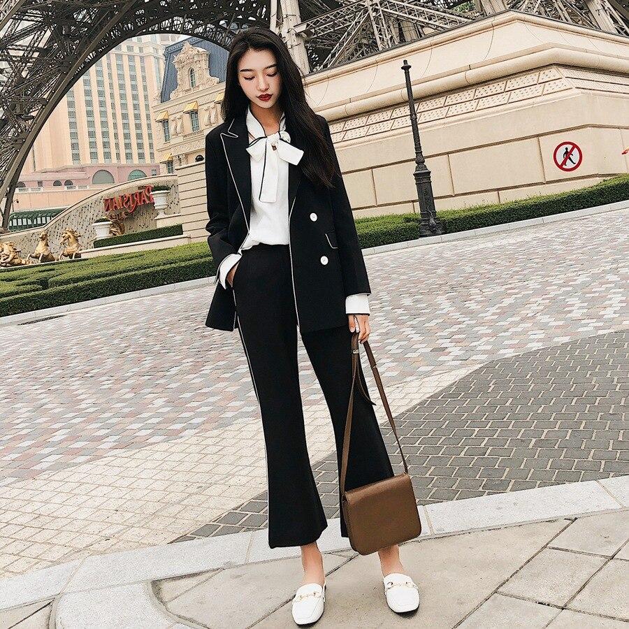 Photo Shoot Open Wire Contrast Color Small Suit Coat Women's England Elegant Slim Fit Slimming Suit Bell-bottom Pants Capri Set