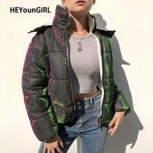 HEYounGIRL – veste bouffante réfléchissante à paillettes pour femme, Parka chaude à capuche, manteau à bulles, pardessus décontracté, Streetwear, automne-hiver