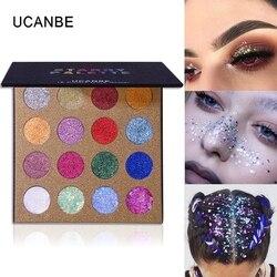 UCANBE-paleta de sombras de ojos, 16 colores, brillo brillante, aplicación para sombra de ojos, cara de ojo, cuerpo, resaltar, Festival, maquillaje, metálico