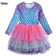 VIKITA Kids Tutu Dress for Girls Long Sleeve Party Vestidos Toddlers Unicorn Cartoon Dresses Princess Mesh Tulle
