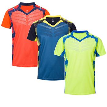 Nowe koszulki tenisowe męskie damskie koszulka do badmintona koszulki do tenisa stołowego koszulki do tenisa stołowego sportowe koszulki do biegania A112 tanie i dobre opinie NoEnName_Null Poliester Krótki Koszule Suknem Pasuje prawda na wymiar weź swój normalny rozmiar Anty-pilling Oddychająca