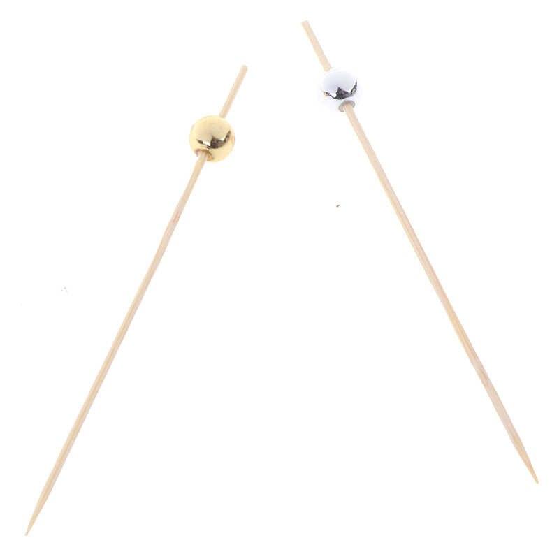 12 Cm 100 Pcs Kayu Tusuk Gigi Koktail Makanan Tusuk Sate Pilihan Buah Snack Garpu Bambu Mutiara Pesta Pernikahan Festival Supplies