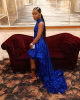 Long Sexy Backless Prom Dresses 2020 High Neck Sleeveless Sequin African Ladies Black Girl Royal Blue prom Dress