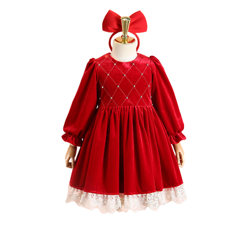 Girl's dress plus velvet 2020 winter new style western style palace lace velvet princess dress to send hair hoop