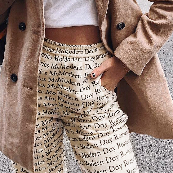 WannaThis Harem Pant Women Autumn Letter Printed Apricot Casual Tapered Cotton Elastic Waist Cargo Trousers Streetwear Long Pant in Pants amp Capris from Women 39 s Clothing