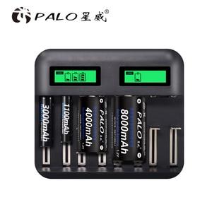 Image 3 - PALO 8 yuvaları LCD ekran USB akıllı pil şarj cihazı AA AAA SC C D boyutu şarj edilebilir pil 1.2V Ni MH ni cd hızlı şarj cihazı