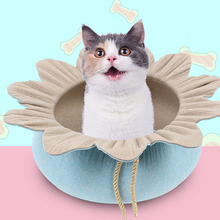 Portable Pet Bed Flower Shaped Felt Cat Nest House Four Seasons Universal Warm Lightweight