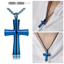 BOFEE Cross Urn Cremation Necklace 361L Stainless Steel Ash Holder Memory Pendant Fashion Jewelry Gift For Women Men