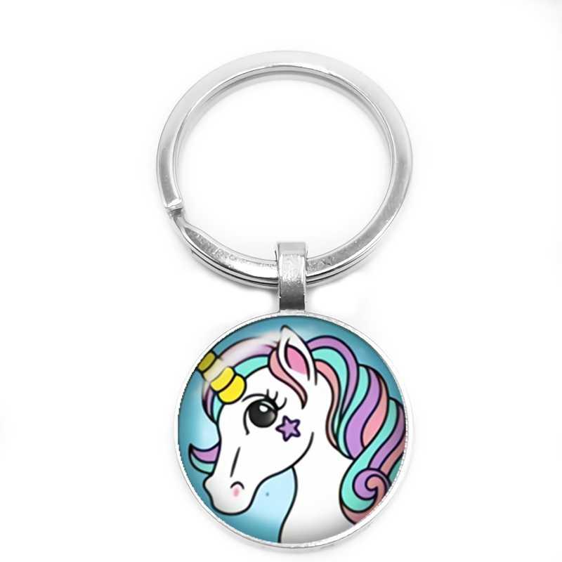 Mode Schmuck Pferd Keychain Personalisierte Farbe Einhorn Drucken Schlüssel Ring Glas Konvexen Runde Silber Metall Schlüssel Ring