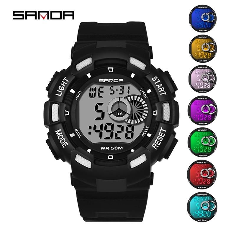 Crianças de Moda Relógio do Esporte Eletrônicos à Prova Sanda Relógio Digital Boy Girl Student 7 Luminosos Coloridos Relógios d' Água 379 Led