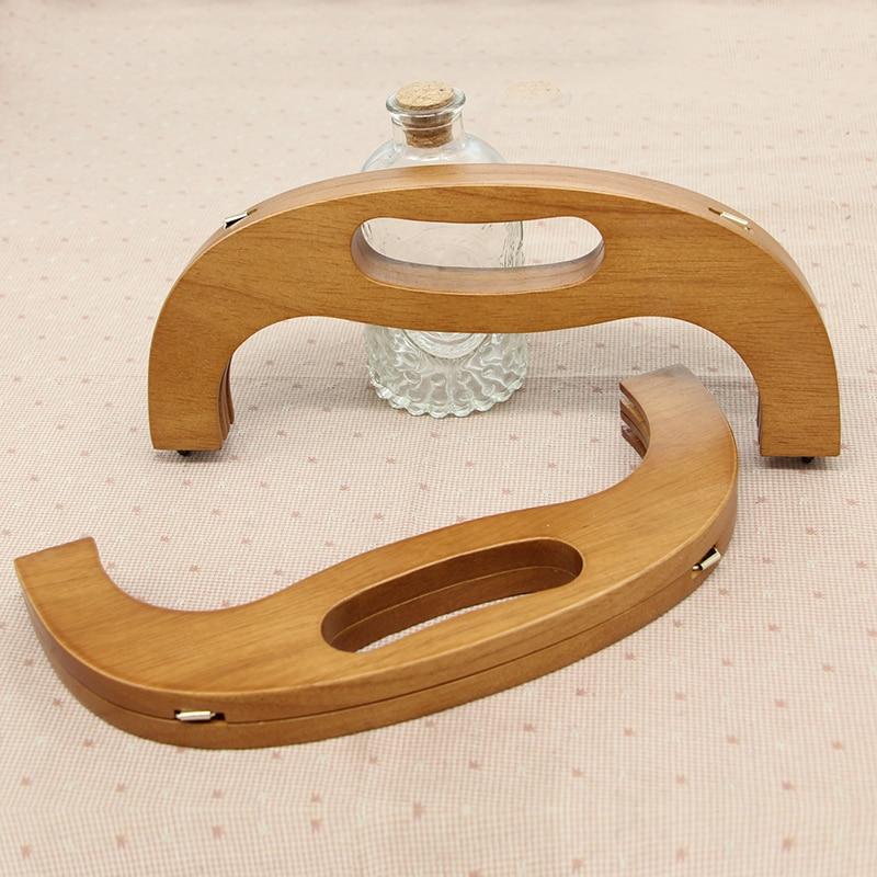 28.5 Cm Wholesale Solid Wood Material Wooden Purse Frame Bag Hanger Handbage Accessories Purse Bag Parts Handle Wooden Handle