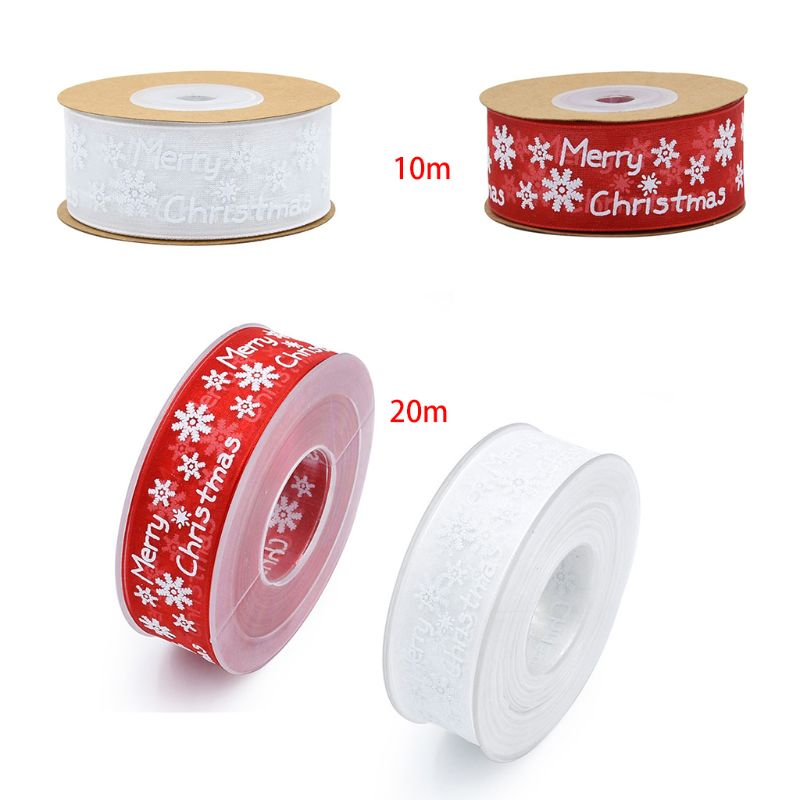 10m/20m Snowflake Pattern Merry Christmas Decoration Gauze Ribbon For DIY Crafts