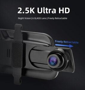 Image 3 - جانسايت 10 بوصة مرآة 2.5K + 1080P جهاز تسجيل فيديو رقمي للسيارات تيار وسائل الإعلام سوبر للرؤية الليلية شاشة تعمل باللمس سيارة كاميرا سيارة ثنائية العدسة وقوف السيارات وضع مسجل
