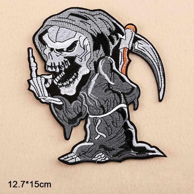 Ace פאנק מיתוס גולגולת שלד פוקר מלאך מוות סיטונאי ברזל על רקום בד תיקון בגדי עבור בגדי Man