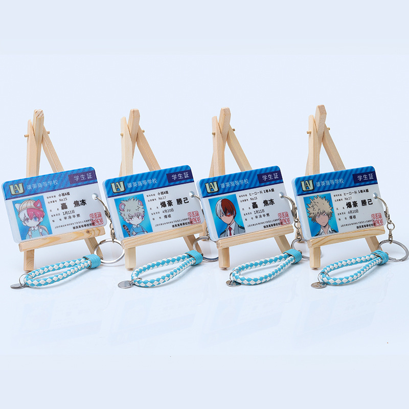 Anime My Hero Academia Key Chain PVC Keychain Asui Tsuyu Ochaco Uraraka Kaminari Denki All Might Eraser Head Bus Card Set Funny