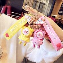 PVC Cartoon Raincoat Pig Doll Metal Keychain Pink Yellow Blue Trinket Girl Boy Pendant Bag Car Key Ring Jewelry Lanyard Gift