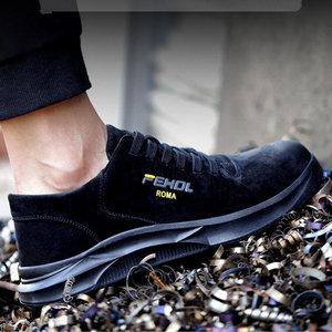 Image 3 - 2019 الرجال الصلب تو حذاء امن للعمل عادية تنفس في الهواء الطلق أحذية رياضية ثقب برهان الأحذية انقسام الجلود الذكور الأحذية الصناعية