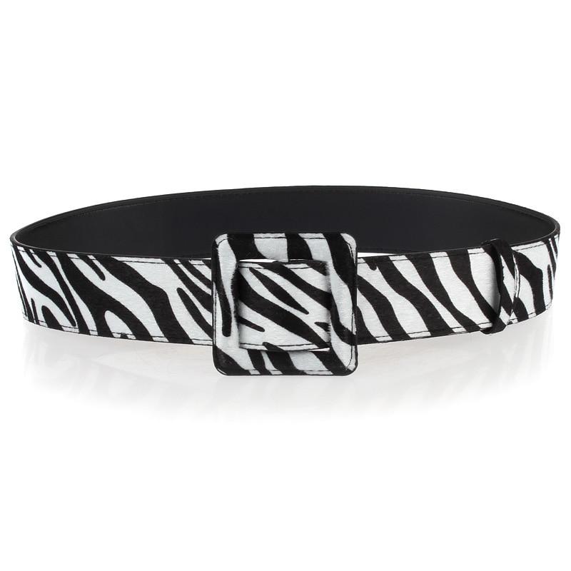 Square Buckle Designer Wide Leopard Corset Belt Women All-Match Genuine Leather Belt Zebra Pattern Horsehair Waist Belts Riem