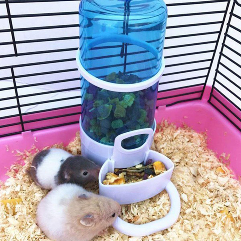 1PC Auto Pets Food Feeder Water Drinking Dispenser For Small Animal Care Rabbit Bird Cage Hamster Food Feeding Bowl Dish 415ML